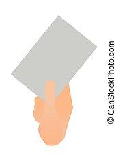 Human hand holding a blank paper sheet.