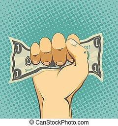 Human hand holding a dollar bill. Cash payment. Stock vector car