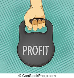 Human hand holding a kettlebell with the word profit. Income and