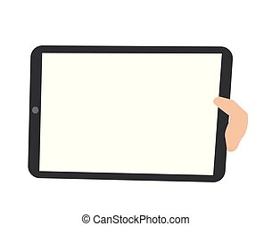 Human hand holding a tablet pc vector illustration