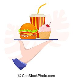 Human hand holding a tray with fast food. Unhealthy lifestyle concept.