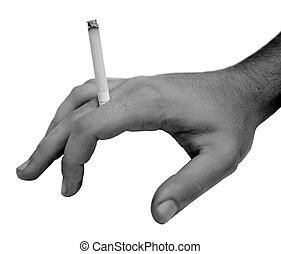 Human hand holding cigarette in black and white
