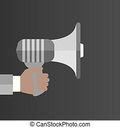 Human Hand Holding Megaphone With Blank Bubble Speech.