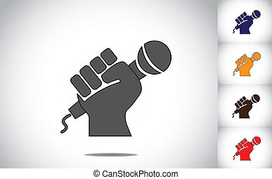 human hand strongly holding mic microphone - karaoke concept. black human hand silhouette with folded fingers hold the mic or microphone - determination to speak up symbol illustration art