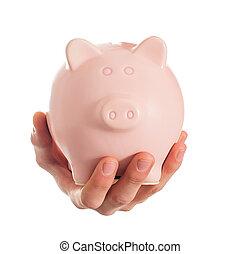 Human Hand Holding Piggybank On White Background
