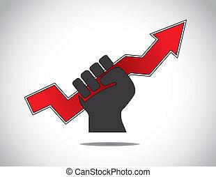 human hand holding progress arrow