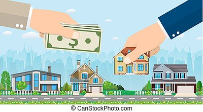 Human hand holding right house and money,