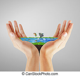 Human hand holding sea - Human hand holding the sea