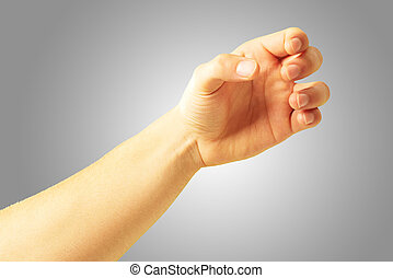 Human Hand Holding On Gray Background