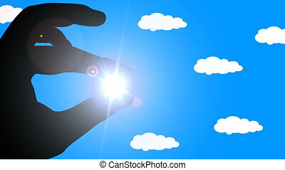 Human hand holding sun. Alpha channel. 60 fps - Human hand...