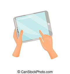 Human hand holding tablet computer and touching screen with finger. Modern gadget. Flat vector design