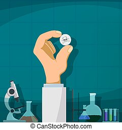 Production of drugs - Human hand holding the pill with a...
