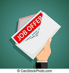 Human hand holds an envelope with job offer