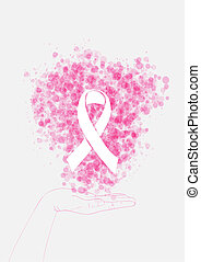 Human hand holds ribbon symbol with bubbles breast cancer...