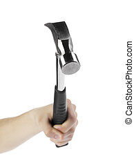 human hand holing a claw hammer