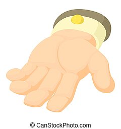 Human hand icon, cartoon style
