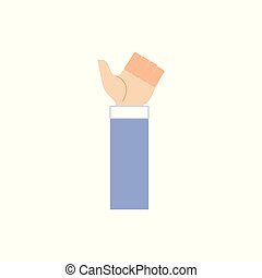 Human hand in business suit showing thumbs up gesture isolated on white background.