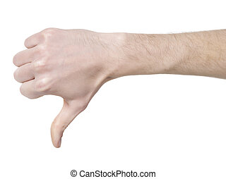 Human hand in disapproved gesture