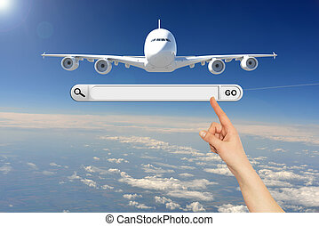 Human hand indicates the search bar in browser. Airplane in...