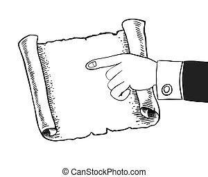Human hand indicates to an empty parchment, scroll.
