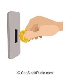 Human hand inserting coin in slot machine icon - Human hand...