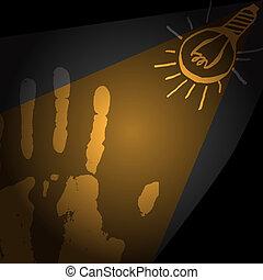 human hand, light bulb