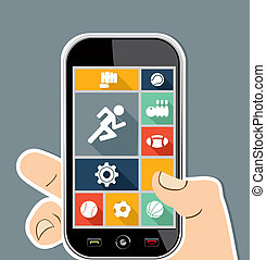 Human hand mobile colorful Sports UI apps flat icons.