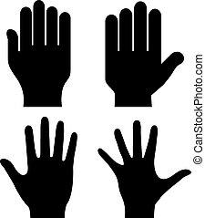 Human hand palm silhouette