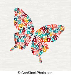 Human hand print butterfly shape concept. Colorful paint ...