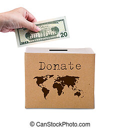 Human hand putting money in brown donate box with world map earth. Concept of savings or charity for whole world.