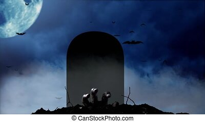 Human hand rises from the grave and on the left a blue moon...