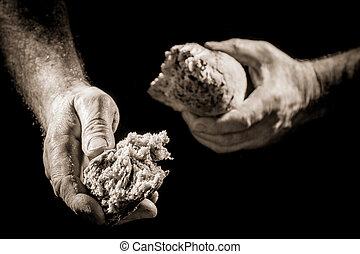 Human hand sharing food