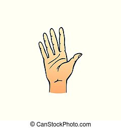 Human hand showing five fingers in sketch style isolated on white background.