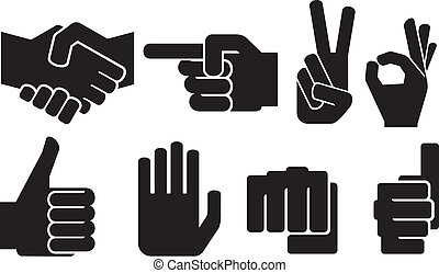 human hand sign collection (hand gesture silhouettes, finger...
