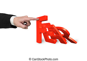 Human hand stopping domino of red fear word falling