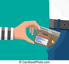 Human hand in prison robe takes money cash from pocket. Thief pickpocket stealing dollars banknotes from jeans. Crime and robbery concept. Flat vector illustration
