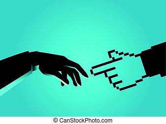 Human hand touching pixelated hand