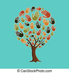Human hand tree concept for community help