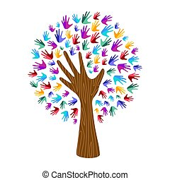 Human hand tree for culture diversity concept
