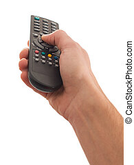 Human Hand Using Remote Control On White Background