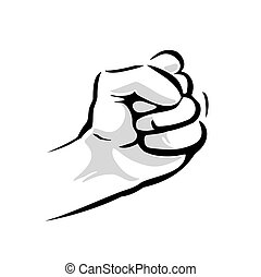 Human hand with a clenched fist. Vector black vintage engraved illustration isolated on a white background. Hand sign for web, poster, info graphic