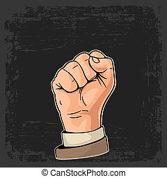Human hand with a clenched fist.