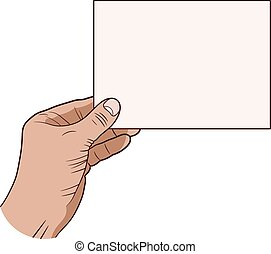 Human hand with a piece of paper on a white background. Vector illustration