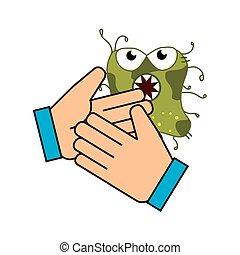 hand with bacteria germs