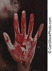 Human hand with blood. Halloween theme.