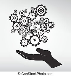 Human Hand with Cogs - Gears Vector