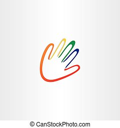 human hand with color fingers