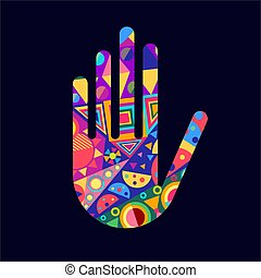 Human hand with colorful abstract decoration