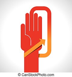 human hand with direction arrow