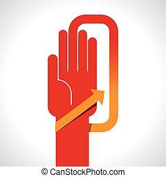 human hand with direction arrow
